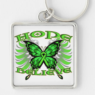 Non-Hodgkins Lymphoma Hope Believe Butterfly Silver-Colored Square Keychain