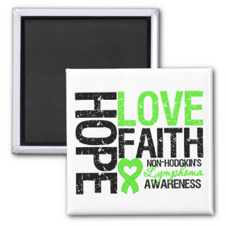 Non-Hodgkin's Lymphoma Hope Love Faith 2 Inch Square Magnet