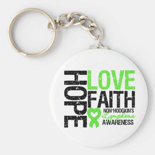 Non-Hodgkin's Lymphoma Hope Love Faith Basic Round Button Keychain