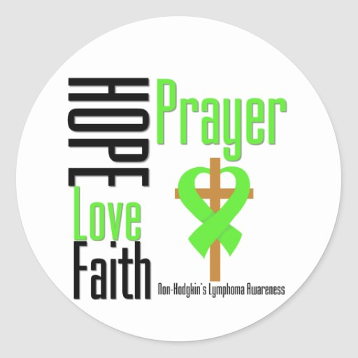 Non-Hodgkins Lymphoma Hope Love Faith Prayer Cross Stickers