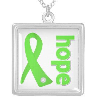 Non-Hodgkin's Lymphoma Hope Ribbon Square Pendant Necklace
