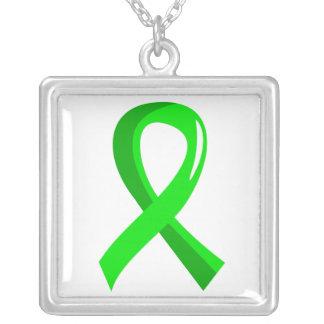 Non-Hodgkin's Lymphoma Lime Green Ribbon 3 Square Pendant Necklace