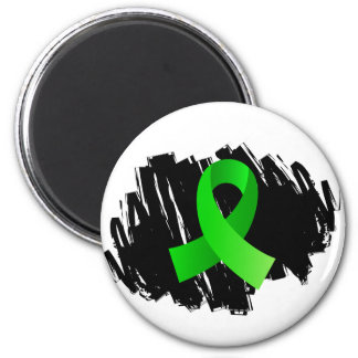 Non-Hodgkin's Lymphoma Lime Green Ribbon With Scri 2 Inch Round Magnet