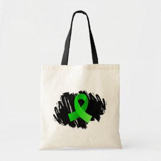 Non-Hodgkin's Lymphoma Lime Green Ribbon With Scri Tote Bags