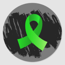 Non-Hodgkin's Lymphoma Lime Green Ribbon With Scri Classic Round Sticker