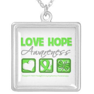 Non-Hodgkin's Lymphoma Love Hope Awareness Square Pendant Necklace