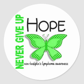 Non-Hodgkins Lymphoma Never Give Up Hope Butterfly Classic Round Sticker