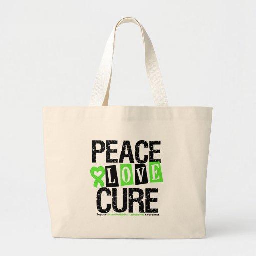 Non-Hodgkin's Lymphoma Peace Love Cure Tote Bags