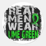 Non-Hodgkin's Lymphoma Real Men Wear Lime Green Round Sticker