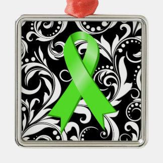 Non-Hodgkin's Lymphoma Ribbon Deco Noir Metal Ornament