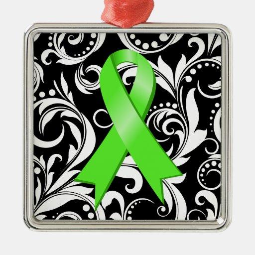 Non-Hodgkin's Lymphoma Ribbon Deco Noir Christmas Ornaments
