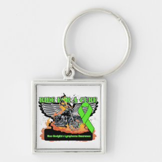 Non-Hodgkins Lymphoma Ride For a Cure Silver-Colored Square Keychain