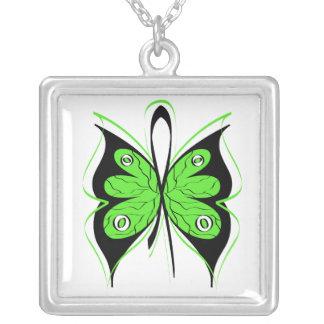 Non-Hodgkin's Lymphoma Stylish Butterfly Ribbon Square Pendant Necklace