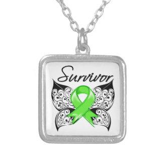 Non-Hodgkins Lymphoma Survivor Butterfly Square Pendant Necklace