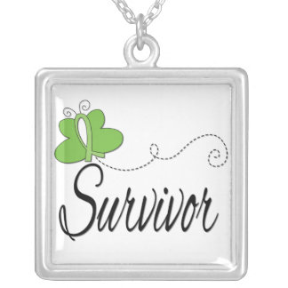 Non-Hodgkin's Lymphoma Survivor Butterfly Ribbon Square Pendant Necklace