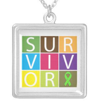 Non-Hodgkins Lymphoma Survivor Colorful Tiles Square Pendant Necklace