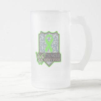 Non-Hodgkins Lymphoma Survivor Vintage Butterfly 16 Oz Frosted Glass Beer Mug