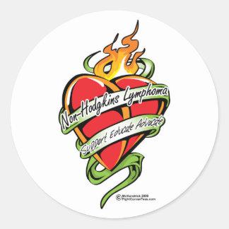 Non-Hodgkins Lymphoma Tattoo Heart Stickers