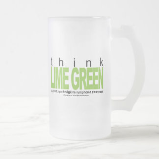 Non-Hodgkins Lymphoma Think Lime Green Frosted Glass Beer Mug