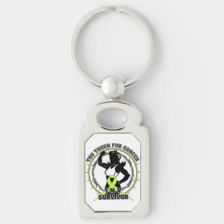 Non-Hodgkins Lymphoma Too Tough For Cancer Silver-Colored Rectangular Metal Keychain
