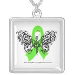 Non-Hodgkin's Lymphoma Tribal Butterfly Square Pendant Necklace