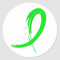 Non-Hodgkin's Lymphoma's Lime Green Ribbon A4 Classic Round Sticker