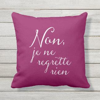 Non, Je Ne Regrette Rien French Purple Throw Pillow