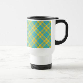 Non-spill Travel Mug: Blue, Yellow, Green Plaid 15 Oz Stainless Steel Travel Mug