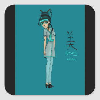 non traditional asian inspired geisha square sticker