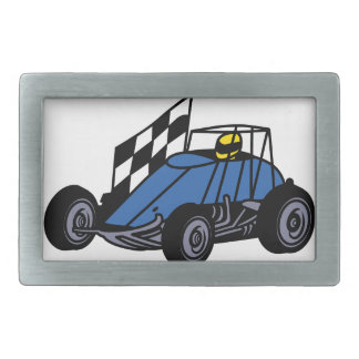 Non-Winged Sprint Car Rectangular Belt Buckle