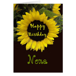 NONA Happy Birthday with Cheerful Sunflower Card