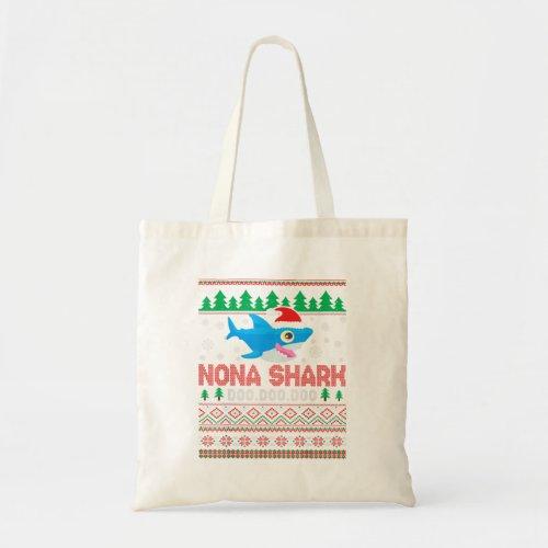 Nona Shark Doo Doo Doo Grandpa Santa Hat Ugl Tote Bag
