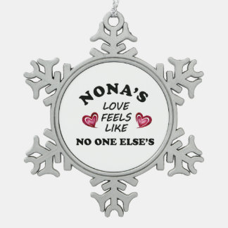 Nona's Love Snowflake Pewter Christmas Ornament