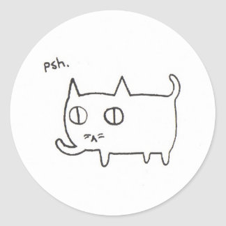 Nonchalant Kitty Classic Round Sticker