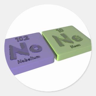 None as No Nobelium and Ne Neon Classic Round Sticker