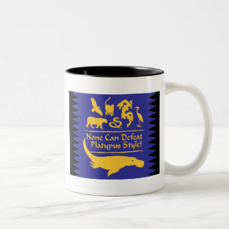 None Can Defeat Platypus Style! Two-Tone Coffee Mug
