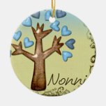 nonni heart tree blue tan ornament