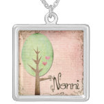 nonni heart tree pink necklace