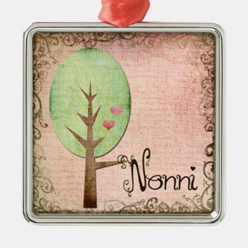 nonni heart tree pink square metal christmas ornament
