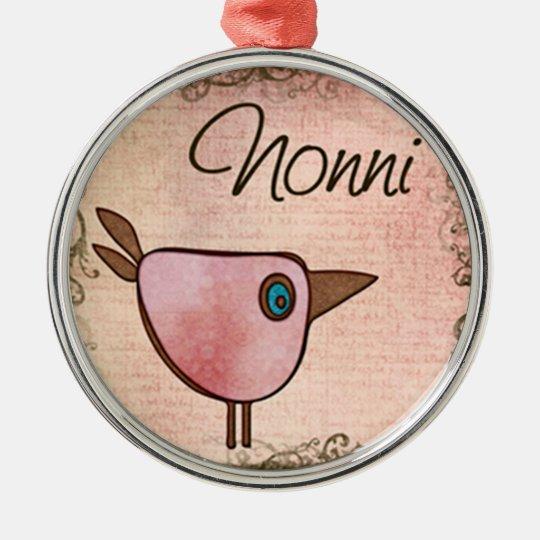nonni pink birdie metal ornament