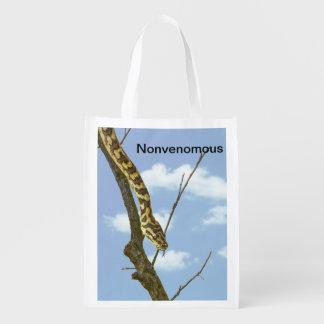 """""""Nonvenomous"""" Garter Snake against a Blue Sky Grocery Bag"""