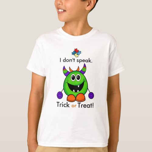 Nonverbal Halloween T_shirt Kids Autism Costume