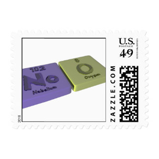 Noo as No Nobelium and O Oxygen Postage Stamps
