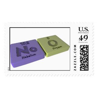 Noo as No Nobelium and O Oxygen Stamp