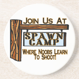 Noobs At Spawn Camp Sandstone Coaster