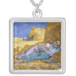 Noon, or The Siesta, after Millet, 1890 Square Pendant Necklace