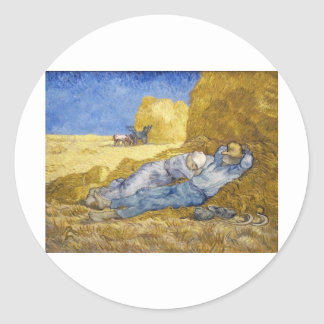 Noon - Rest from Work (after Millet) Classic Round Sticker