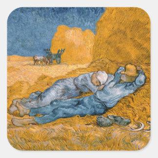 Noon, Rest From Work After Millet Vincent Van Gogh Square Sticker