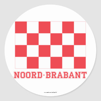 Noord-Brabant Flag with name Round Sticker