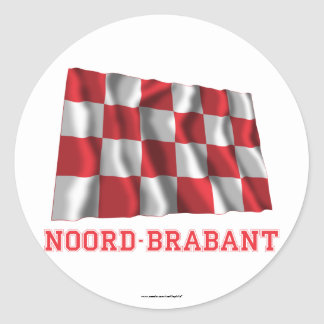 Noord-Brabant Waving Flag with Name Classic Round Sticker